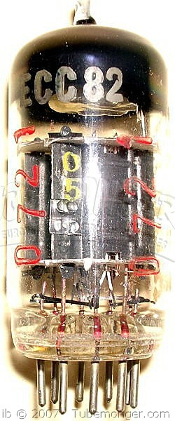 Tungsram ECC82 1950s Black Plate Foil Getter Industrial Red Serial Tube - Hungary.jpg